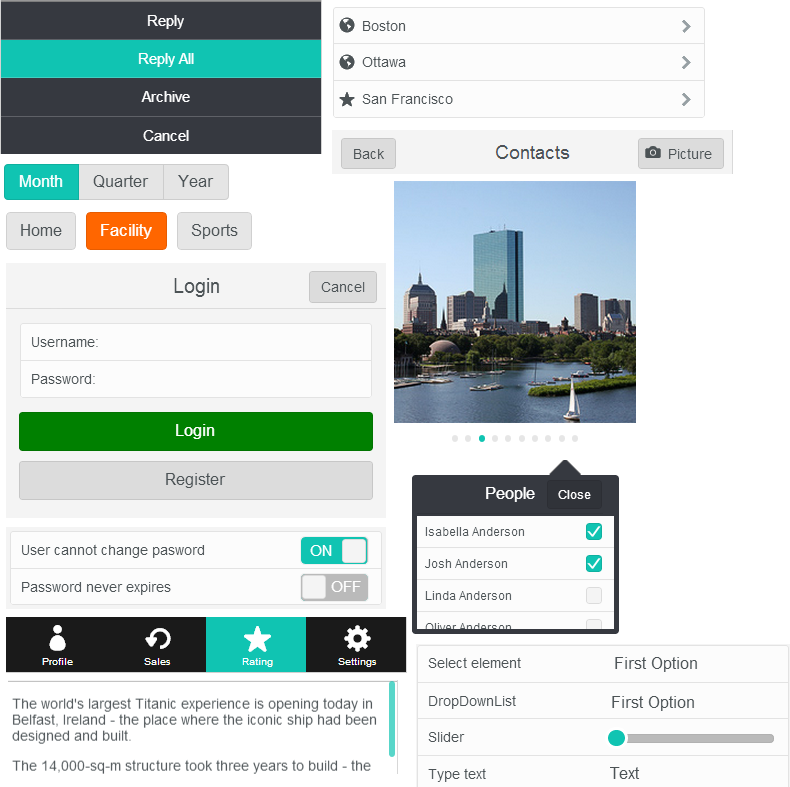 Visual sampling of widgets provided by Kendo UI Mobile